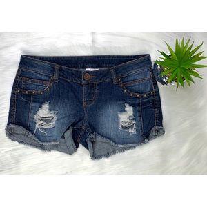 Xhilaration Dark Blue Studded Pockets Jean Short